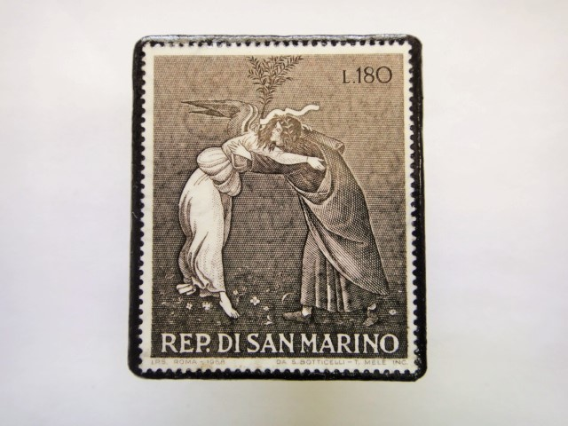サンマリノ クリスマス切手ブローチ349