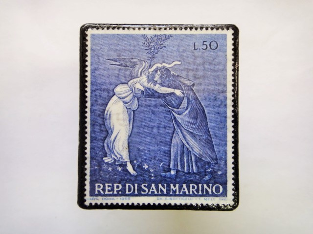 サンマリノ クリスマス切手ブローチ350