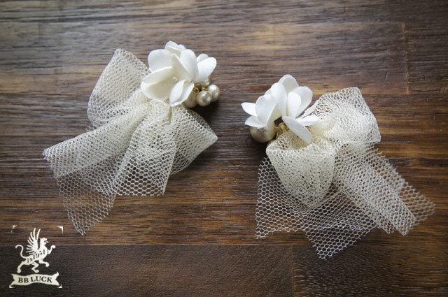 pierce 【 紫陽花とコットンパールのチュールキャッチピアス 】