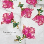 pink(6pcs)Rose connector charm
