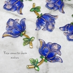 blue(6pcs)Rose connector charm