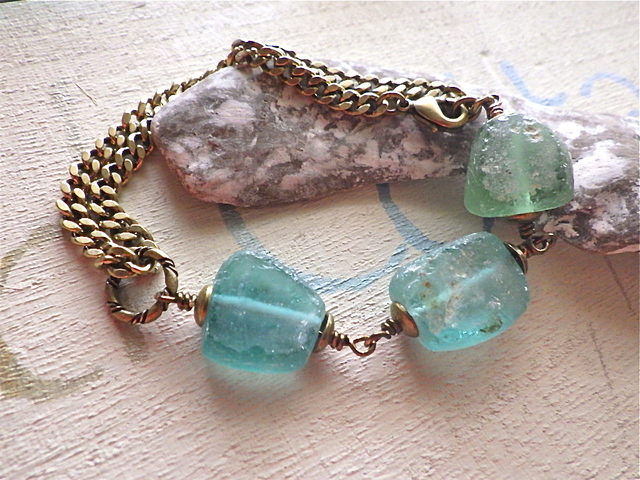Sea Roman Glass Trio Bracelet