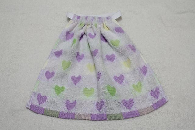 再販2☆タオルエプロン 紫と黄緑のハート