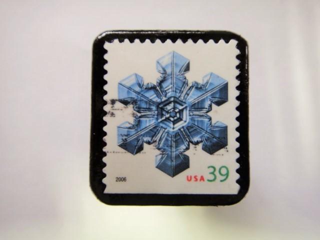 アメリカ クリスマス切手ブローチ355