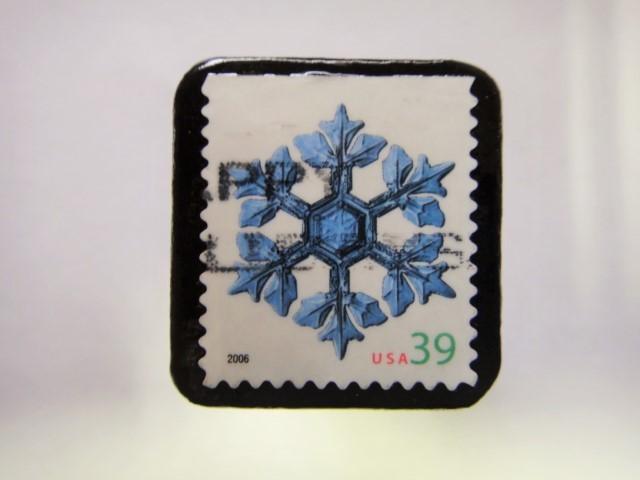 アメリカ クリスマス切手ブローチ356