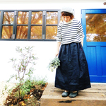 {Pocket color long skirt}ネイビー