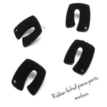 4pcs) Black rubber forked pierce