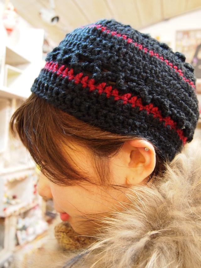 かぎ針編みニット帽【レッド】
