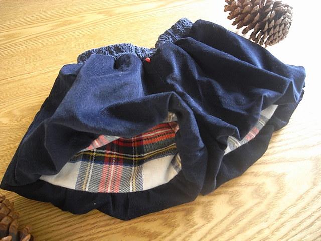 コーデュロイのバルーンパンツ(紺)*90size