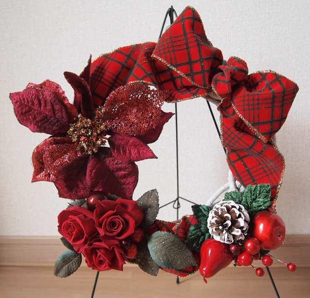 sawa-ya ~ 真っ赤なクリスマスリース(直径30cm)