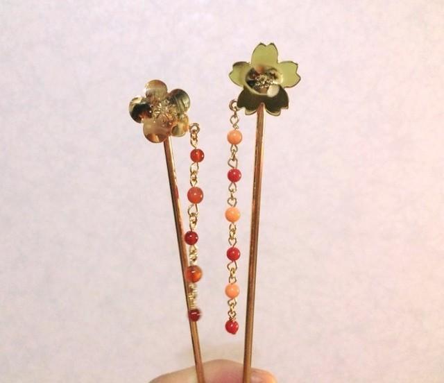 桜◇真鍮珊瑚 かんざし