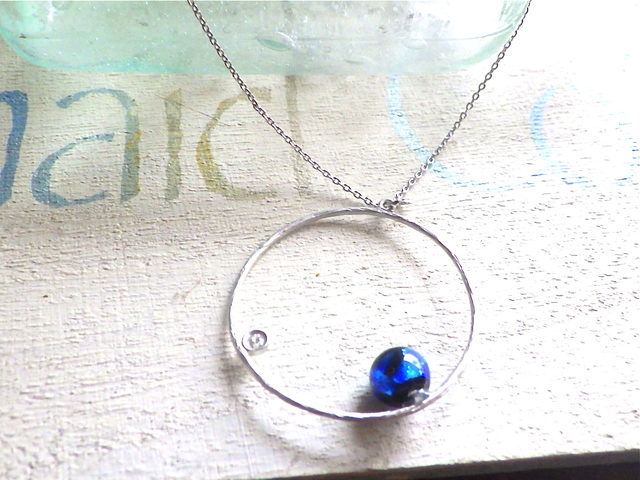Grand Blue Circle Necklace