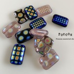 12*8 mm dots rectangle mix チェコビーズ 5個