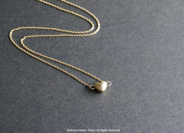 【14KGF】Necklace,16KGP Mat Gold Tiny Heart