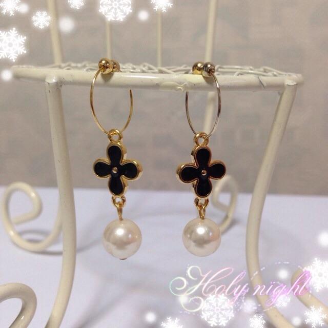 お花とシルキーパールのイヤリング♪