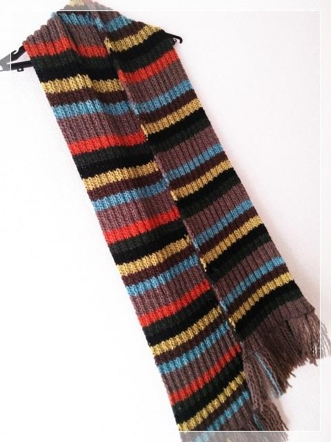 シンプルなゴム編みマフラー(カラフル)