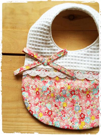 かわいいスタイ *かわいいお花柄×リボン* ピンク