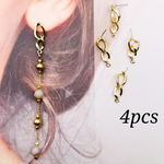 【knz4074psgr】【4pct】design ring pierced earrings