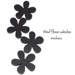 black(8pcs)Flower wood cabochon