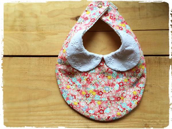 【再販です】かわいいスタイ *刺繍衿×小花柄* ピンク