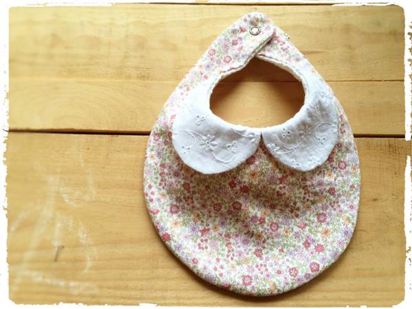 かわいいスタイ *刺繍衿×優しいお花柄* ピンク
