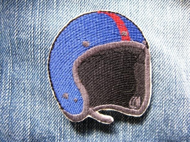 『JET HELMET』blue 刺繍ブローチ