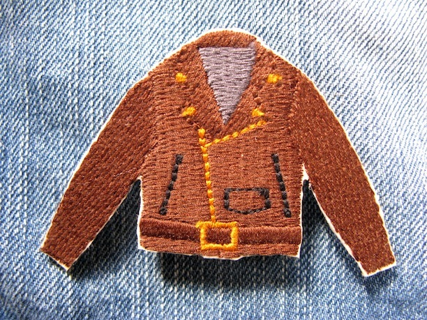 『RIDER'S JACKET』brown 刺繍ブローチ