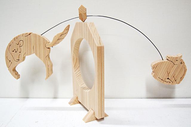 一枚板の組み木振り子「干支もん・午(うま)」