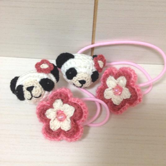 132 パンダちゃん お花  ヘアゴム 2個セット