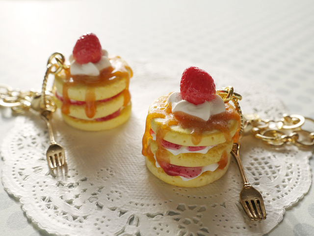 【mo様オーダー品】3段ホットケーキのバッグチャーム2個セット
