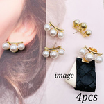 【knz4078psgr】【4個】triple pearl pierced earrings