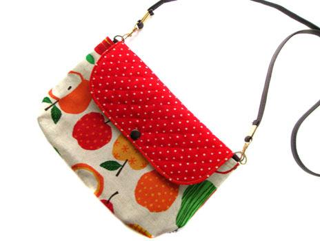 横ながポシェット★カラフルりんご&赤ドット