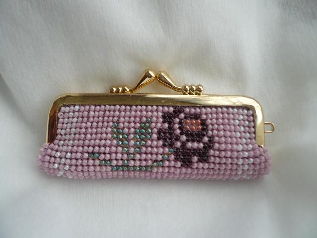 再販 ビーズ編みの 印鑑ケース バラ