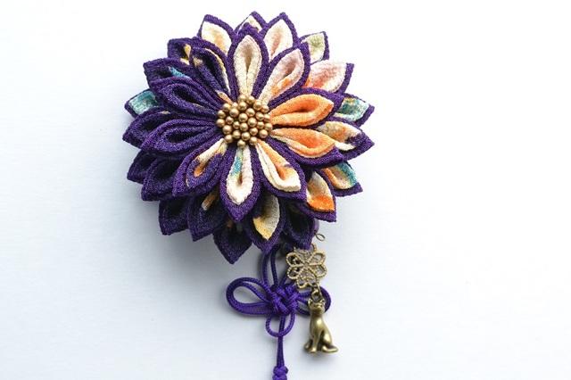 tumami*猫と花結び 2way飾り