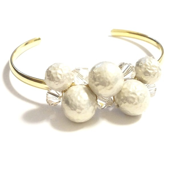 【送料無料】再販!Pearl Swarovski crown Bangle ♯2