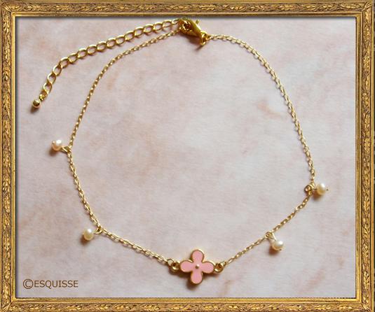 ピンクの4弁花アンクレット