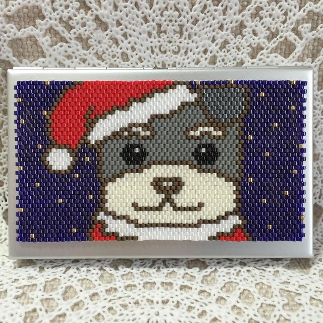カードケース(クリスマス-シュナウザー?)