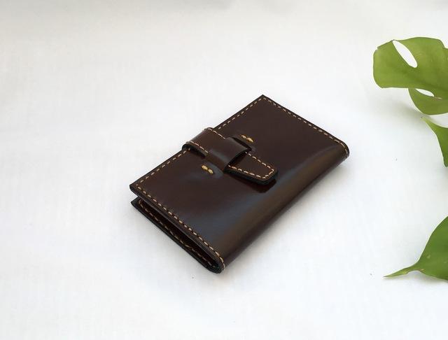 【値下げ】レザーカードケース(赤茶×ベージュ糸)