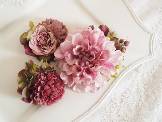 ダリアのヘッドドレス *antique pink*