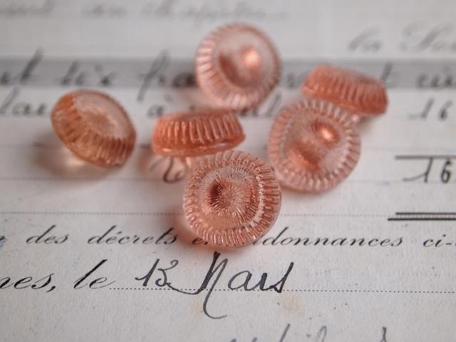【売り切れ】フランス ガラスのボタン ピンク 2個セット