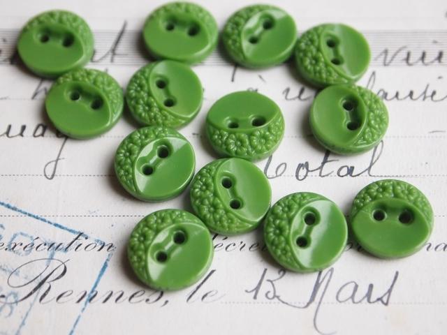 フランス 小花柄のガラスボタン 緑 2個セット