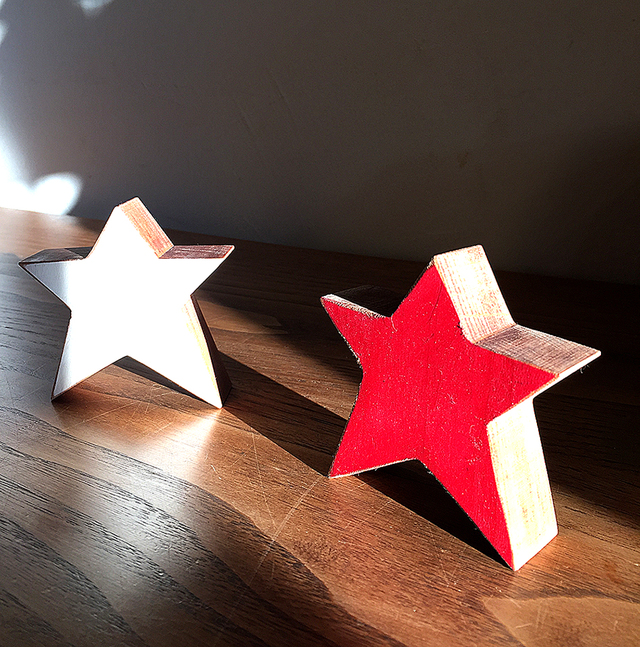 星の木工オブジェ 2点セット (レッド&ホワイト)クリスマスインテリア