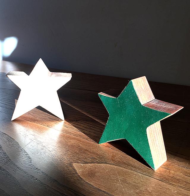 星の木工オブジェ 2点セット(グリーン&ホワイト) クリスマスインテリア