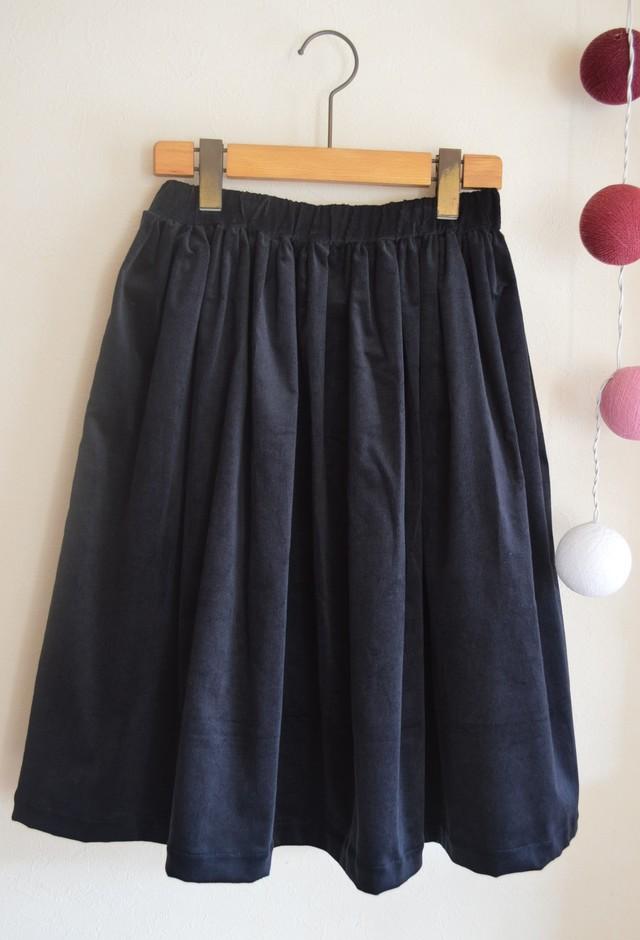 コーデュロイ シンプルギャザースカート for women ダークネイビー