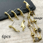 【knz4081psgr】【6個】hand design  pierced earrings