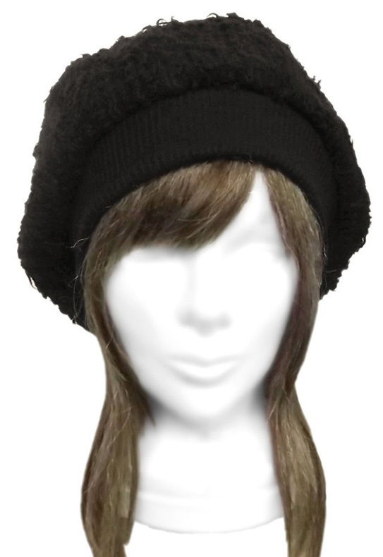ウール混 手編み風ニット/リブ付ベレー帽(ゆったり)◆黒