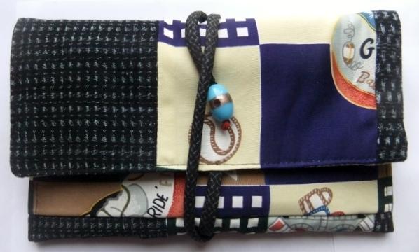 着物リメイク 絣と男の子の着物で作った和風財布 833