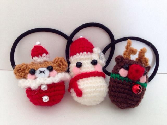 クリスマス・サンタ・トナカイ・雪だるま・あみぐるみ・ヘアゴム・オーダー受付中
