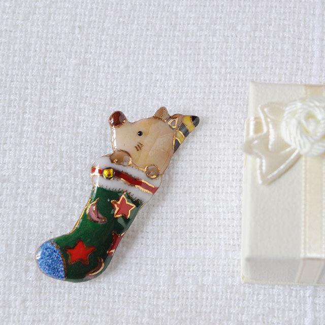 七宝焼ブローチ クリスマスのプレゼント靴下(2)