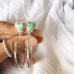 (イヤリング変更不可)《silver925》heart turquoise✴︎hoop earrings❤︎